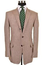 RECENT Hickey Freeman Barrett Gray Glen Plaid 100% LINEN Sport Coat Jacket 40 L