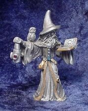 Pewter Wizard Holding Lantern with Owl & Book