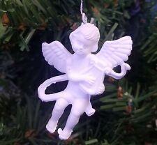 """Paquete De 12 Miniatura 2"""" Plástico Blanco Ángel Con Arpa Craft Navidad Adornos"""