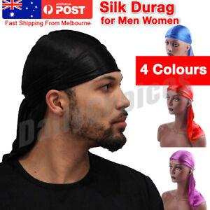 Unisex Men Women Bandana Doo Durag Headwear Soft Imitated Silk Pirate Cap Wrap