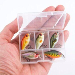 5PCS/Lot Topwater Wobbler Japan Mini Crankbait With Plastic Box Fly Fishing Lure
