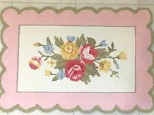 Hamptons Hand Hooked Scalloped Floor Rug Mat Shabby Pink Country Roses Chic New