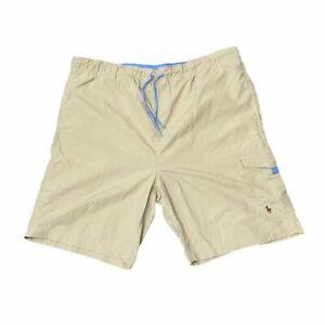 Polo RALPH LAUREN XL Swim Trunks Short Netting Liner Tan & Baby Blue Drawstrings