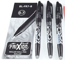 3 X PILOT FRIXION ROLLERBALL ERASABLE PENS 0.7MM BLACK & BLUE BL-FR7