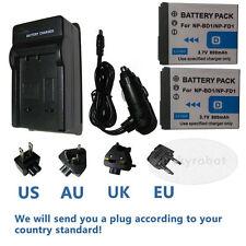 2 Batteries+charger For Sony NP-BD1 NP-FD1 DSC-TX1P DSC-TX1S DSC-L1 DSC-M1