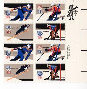 Scott # 1795-1798 (1980) Winter Olympics ZIP Block of 8 MNH 15¢ stamps FREE ship