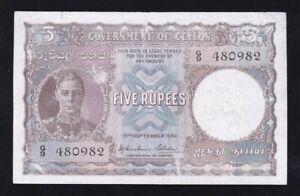 CEYLON ------ 5  RUPEES  1942 ----- VG/F --- RARE BANKNOTE -----