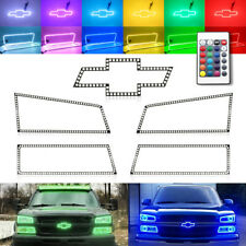 Multi-Color RGB LED Bowtie Emblem+Headlight Halo Ring for 03-06 Chevy Silverado