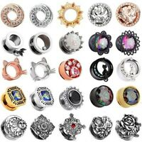 """PAIR Ear Gauges 316L Stainless Steel Mixed CZ Ear Plugs Flesh Tunnels 2G - 5/8"""""""