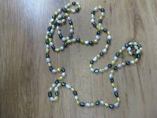 Lange Halskette Perlenkette aus Süßwasserperlen gefärbt grün gelb ca. 80cm