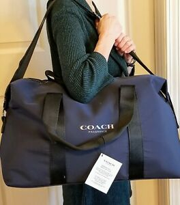Coach Fragrances Weekender Overnighter Duffle Bag Navy with Black Trim NWT