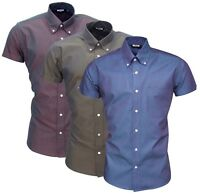 Relco Short Sleeved Tonic Burgundy Green Blue Button Down Shirt Sizes M to 3XL