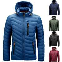Winter Warm Casual Mens Padded Hoodie Puffer Quilted Jacket Coat Outwear Zip Up
