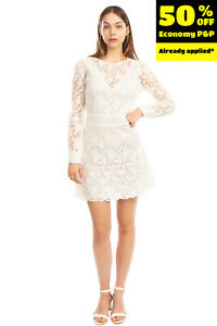 RRP€320 BA&SH A-Line Dress Size 1 S Floral Lace Pintucked Long Sleeve Round Neck