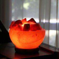 6''Himalayan USB Salt Crystal Fire Bowl Rock Lamp Night Light Healing Table Lamp