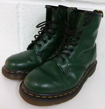DR MERTENS GREEN LEATHER 8 HOLE BOOTS - SIZE 3 UK / 36