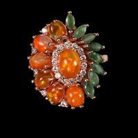 Unheated Oval Orange Fire Opal 7x5mm Emerald Cz 925 Sterling Silver Ring
