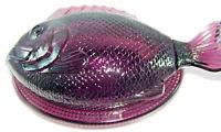 L.E. Smith Glass Vintage Purple Fish on a Nest