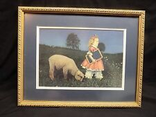 """Vintage, Very Cute """"Mary Had a Little Lamb"""" Double-Matted, Framed Print-Unique!"""