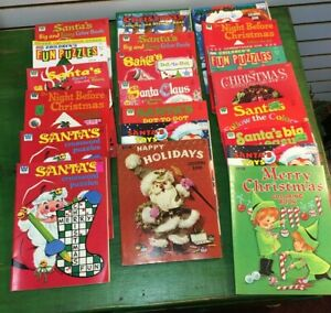 Lot of 21 Vintage Christmas Coloring Books & Activity Books, 1960's 1970's USED