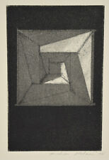 1972 Michiko Itatani Black & White Geometric Etching #2 Chicago Artist