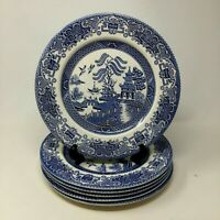 """Set of 6 Vintage Blue Willow Ware 9 1/2"""" Dinner Plates Farmhouse Country"""