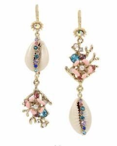 Betsey Johnson Sea life shell drop earrings corals rhinestones MSRP: $45.00 New