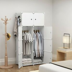 "Portable Wardrobe Clothes Closet Plastic Dresser, White, 2x4 Tiers, 18"" Depth"