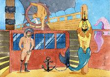 "PRINT of Original Art Work Watercolor Painting Gay Male Nude ""The Merman..."""