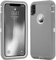 New For IPhone Xs Max Heavy Duty Tough Rugged Gray/White Case fit Otterbox Clip