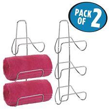 mDesign Wall Mount or Over-the-Door Bathroom Towel Rack - Pack of 2, Chrome