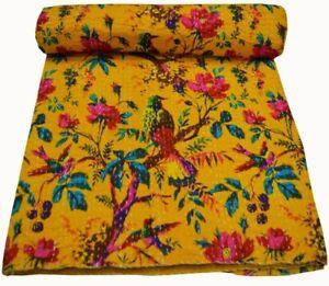 Indian Cotton Kantha Quilt Throw Blanket Bedspread Yellow Bird Print Bedding Art