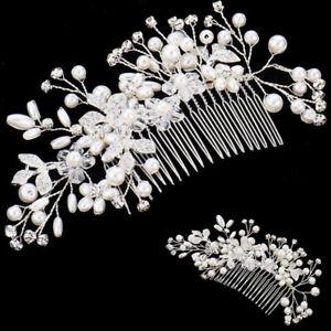 Pearls Wedding Hair Vine Crystal Bridal Accessories Diamante Headpiece Vintage