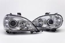 Mercedes-Benz ML W163 98-01 Chrome Xenon Look Headlights Set Driver Passenger