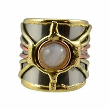 Welded Mixed Metal CUFF RING, Firefly Cabochon Design, One Size, by Anju