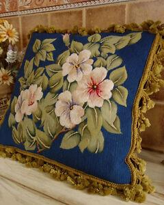 "18"" Retro Handmade Floral Petit Point Blue Needlepoint Pillow Cushion Sham"