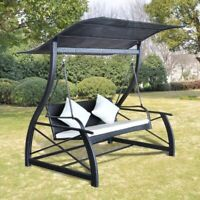 vidaXL Outdoor Swing Bench Poly Rattan Wicker Black Hammock Chair Seat Lounger
