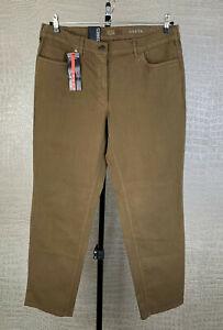 Neu! ZERRES Damen Gr. 46 kurz Stretch Komfort Jeans Hose Greta braun Denim 509