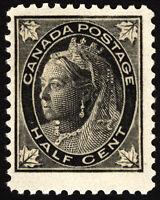 Canada #66 1/2c Black 1897 Queen Victoria Maple Leaf VF *MLH*