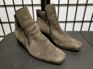 Arche Brown Nubuck Suede Wedge Ankle Boots Size 41/9.5 Made in France