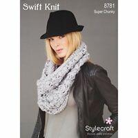 Stylecraft Knitting Pattern 8781 Ladies Lace Scarf Cowl Swift Knit Super Chunky