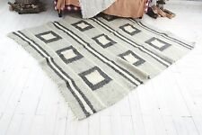 Modern Area Rug Contemporary Geometric Carpet Gray White Pure 100% Wool Handmade