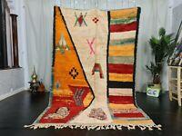 Vintage Moroccan Boujad Handmade Rug 5.4x8.5 Abstract Wool Berber Symbols Carpet