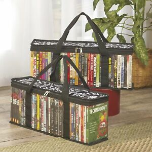 Storage Bags for DVDs, Blu-Ray, VHS, Games with Handle - Set of 2