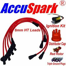 VW Beetle Electronic ignition Red HT leads, plugs red Rotor/Distributor cap 009