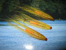 3 V Fly 1 Inch Copper UV Gold Banana Salmon Tube Flies & 3 V1 Trebles