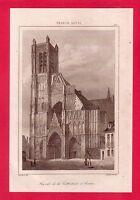 Façade de la Cathédrale d'Auxerre    GRAVURE 1845  FRANCE XV