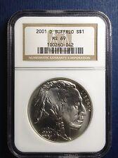 American Buffalo 2001-D, $1 UNC NGC MS-69