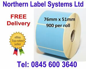 76mm x 51mm BLUE Direct Thermal Labels, fits BROTHER TD-4000 / TD-4100N