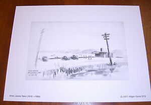Gulf Beach, Milford,CT; 6/18/47 Vintage Sketch by James Tabor (Lithograph)